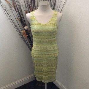 ⭐️H & M Lime/Yellow/Brown Zig Zag Stretchy Dress